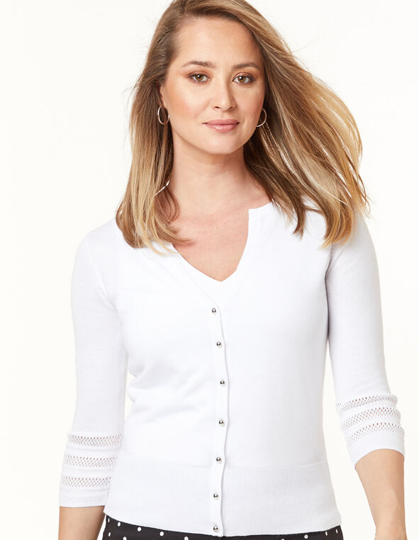 White Pointelle Cardigan, White, hi-res