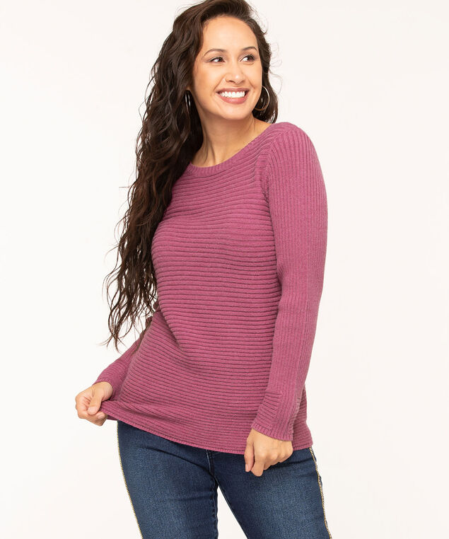 Fuschia Ribbed Round Neck Sweater, Fushcia, hi-res