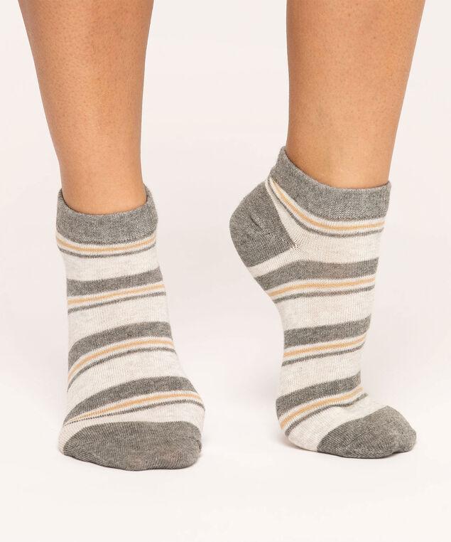 Grey Striped Ankle Sock 3-Pack, Grey/Light Grey