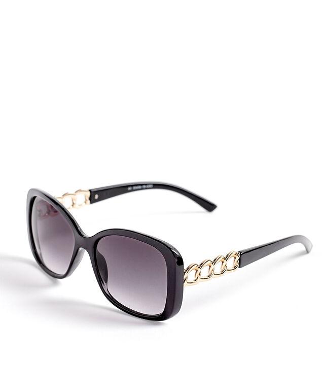 Black Gold Chain Sunglasses, Black/Gold