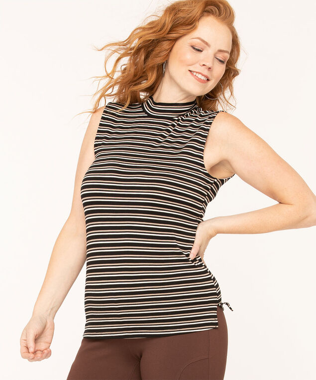Striped Cowl Neck Top, Black/Ivory/Tan