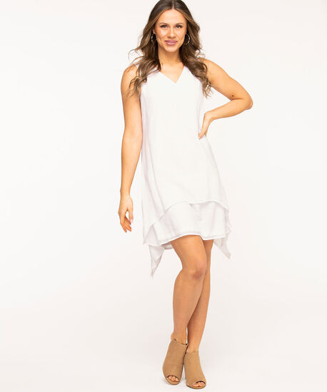 White Layered Sharkbite Dress, White, hi-res