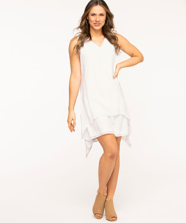 White Layered Sharkbite Dress, White