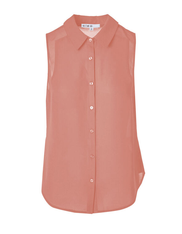 Pink Button Front Sleeveless Blouse, Pink, hi-res