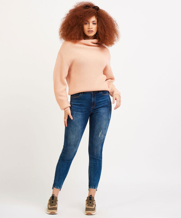 Dex Long Sleeve Mock Neck Sweater, Peach