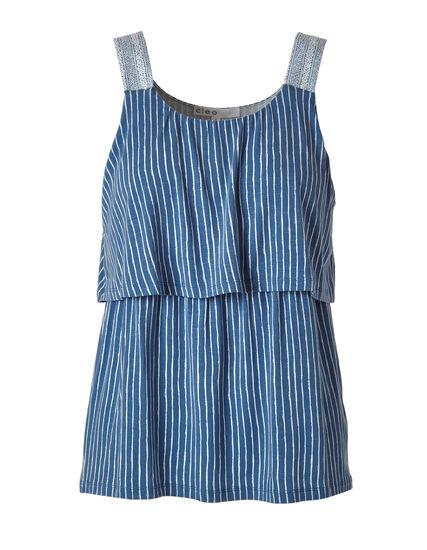 Blue Stripe Printed Top, Blue, hi-res