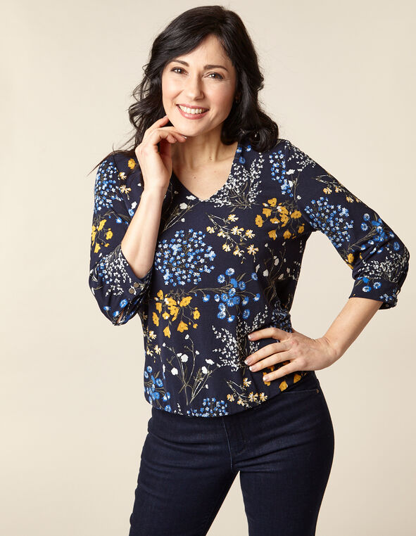Navy Floral Crepe Top, Navy/Blue/Yellow/Green/White, hi-res