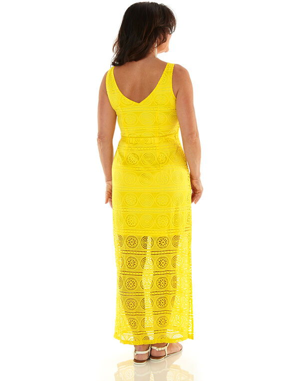 Yellow Lace Maxi Dress, Yellow, hi-res