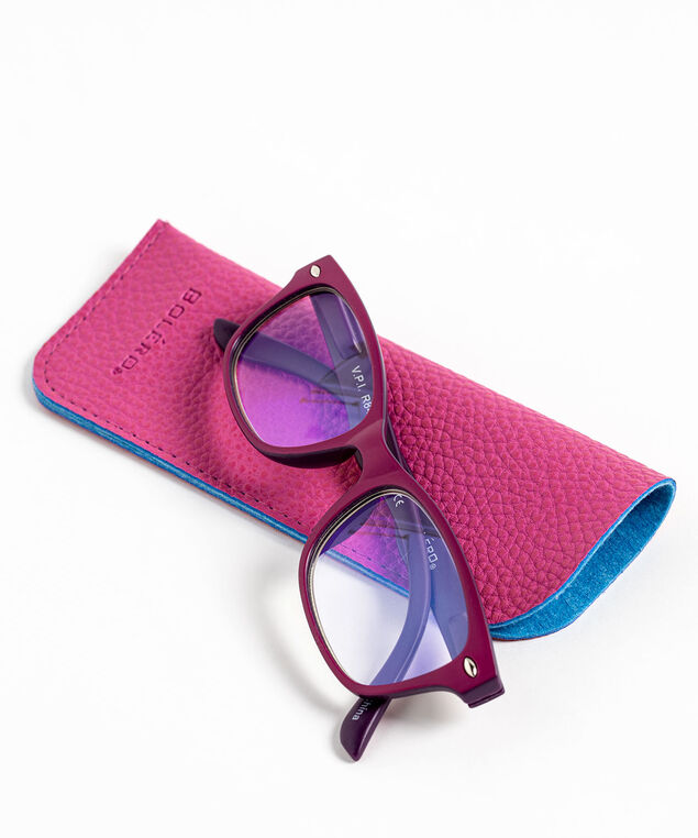 Square Blue Light Reader Glasses, Purple