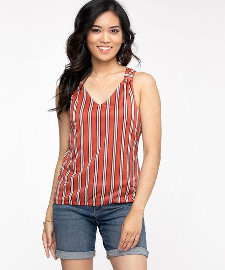 Striped Sleeveless V-Neck Top, Burnt Orange/Black, hi-res