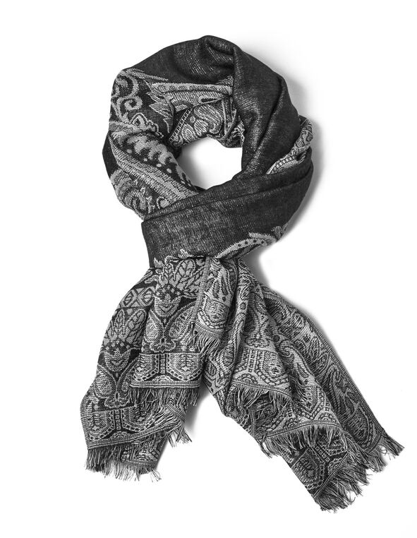 Black Reversible Pashmina Scarf, Black, hi-res