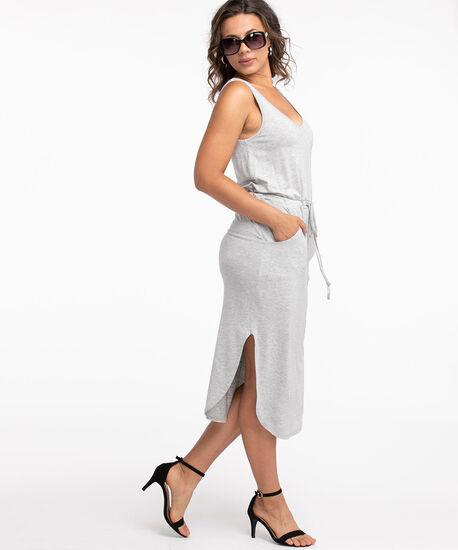 V-Neck Drawstring Pocket Dress, Grey, hi-res