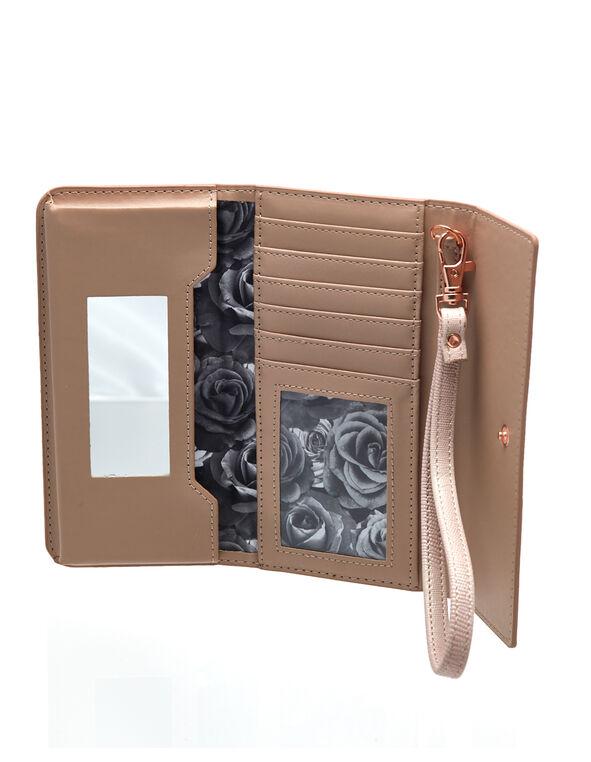 Pink Textured Phone Wallet, Pink, hi-res