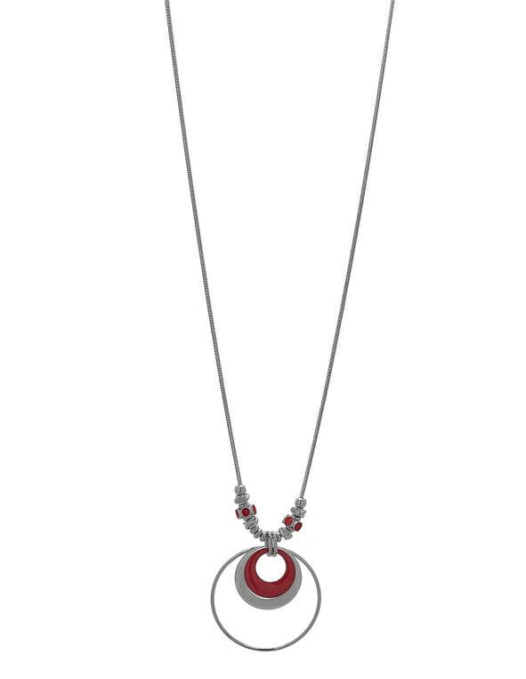 Long Coral Pendant Necklace, Silver/Coral, hi-res