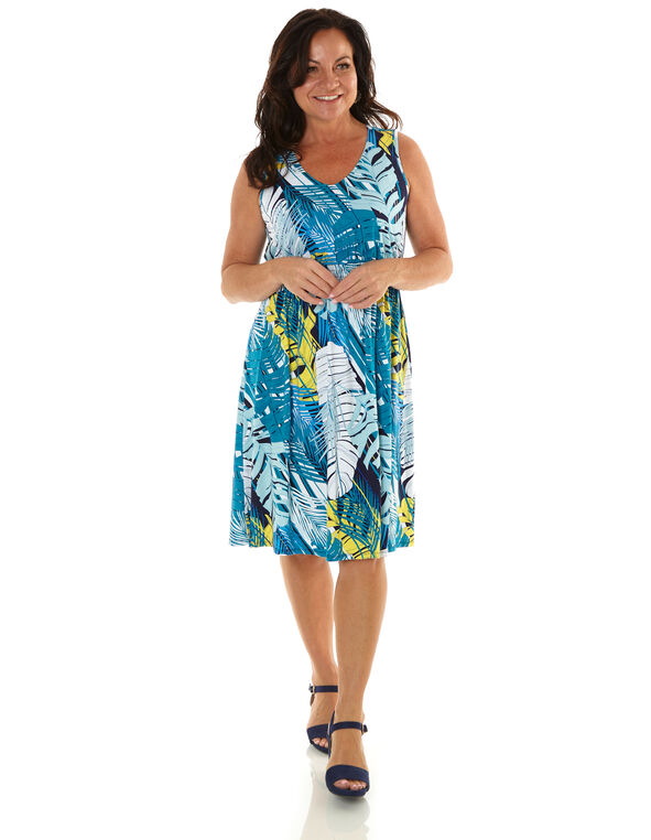 Turquoise Tropical Fit & Flare Dress, Turquoise, hi-res