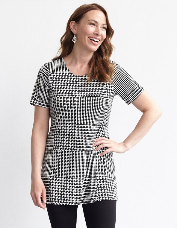 Black Houndstooth Tunic Top, Black, hi-res