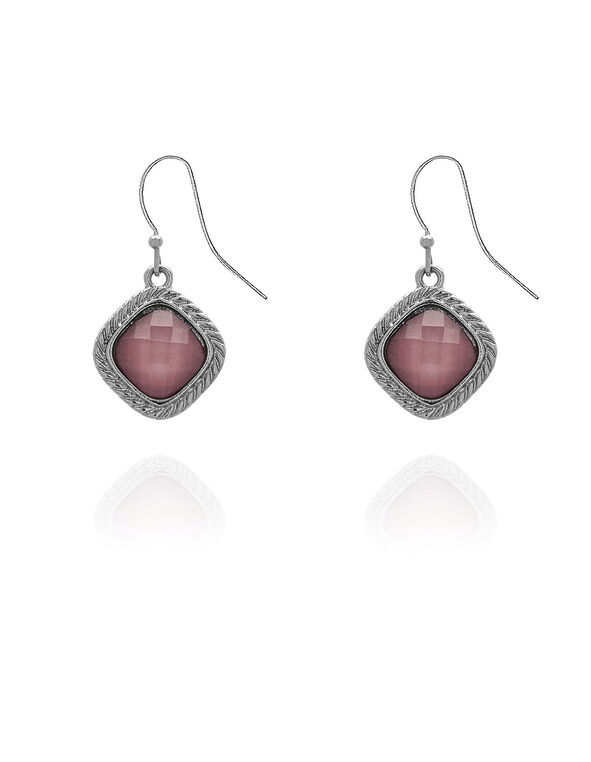 Pink Faceted Stone Earring, Pink, hi-res