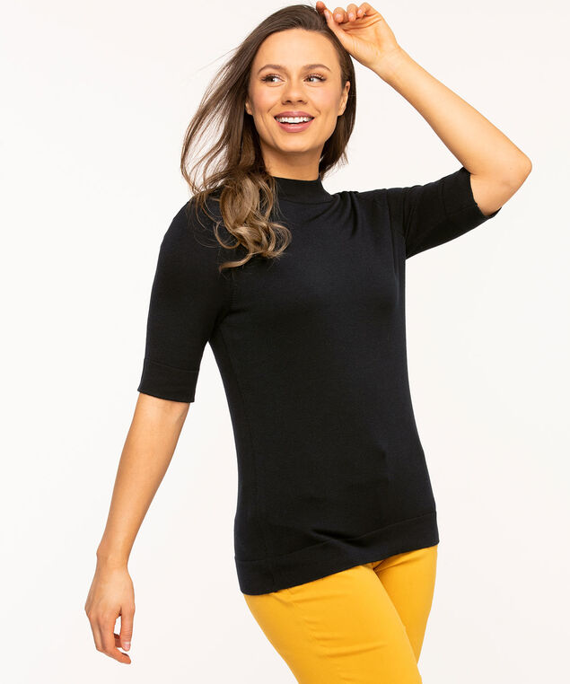 Mock Neck Elbow Sleeve Pullover, Navy
