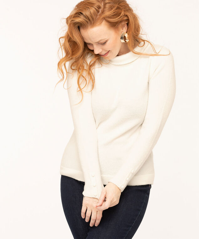 Recycled Mock Neck Sweater, Ivory, hi-res
