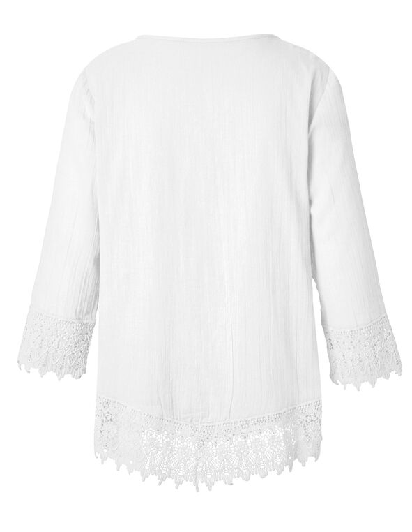 White Cotton Peasant Blouse, White, hi-res