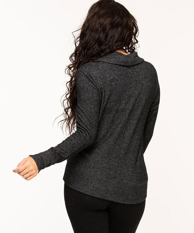 Cowl Neck Lightweight Knit Top, Black Mix