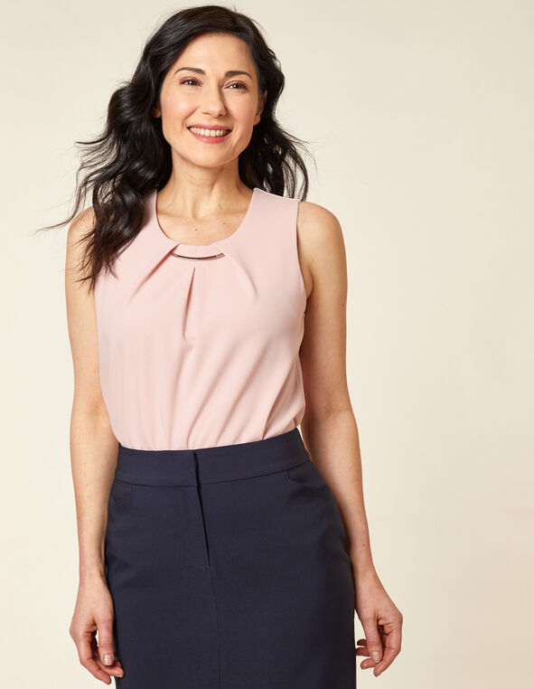 Carnation Pink Crepe Top, Pink/Carnation, hi-res