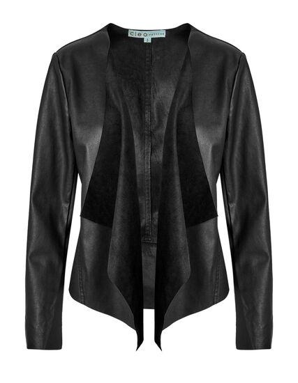 Black Open Front Jacket, Black, hi-res