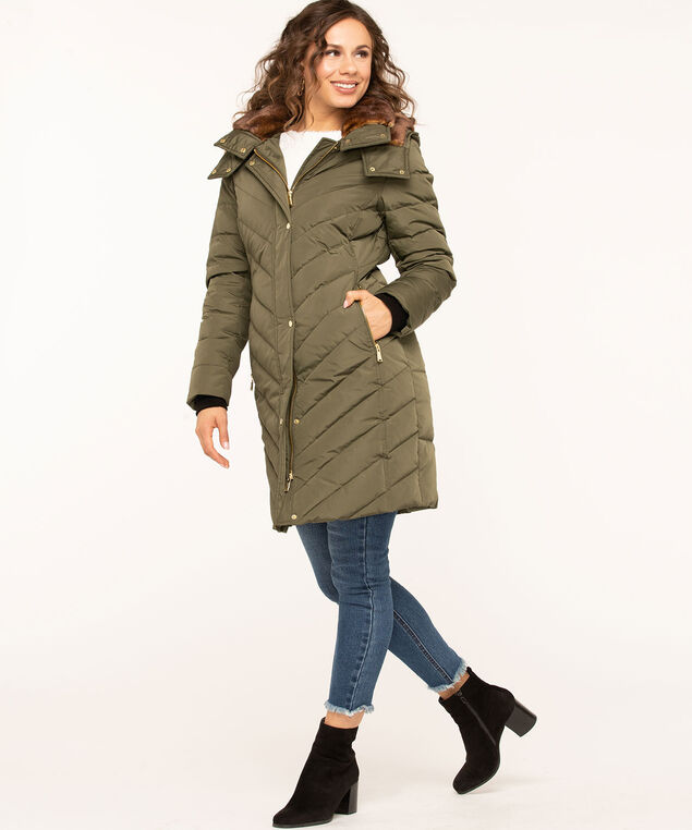 Long Feather Down Puffer Coat, Olive