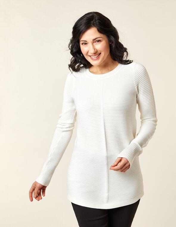 Ottoman Stitch Sweater, Ivory, hi-res
