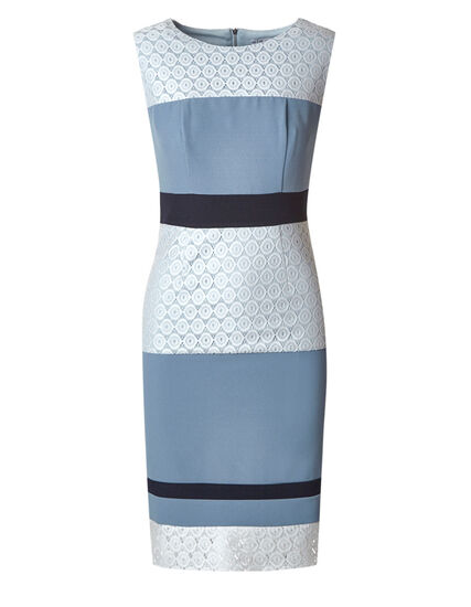 Blue Colour Block Sheath Dress, Blue, hi-res