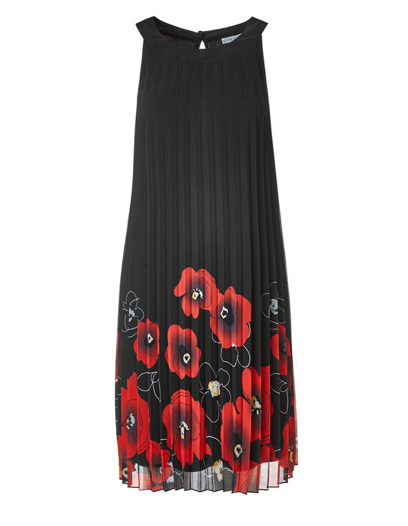 Black Chiffon Halter Dress, Black, hi-res