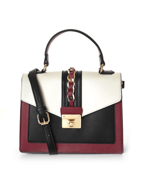 Red Colour Blocked Square Handbag, Red, hi-res