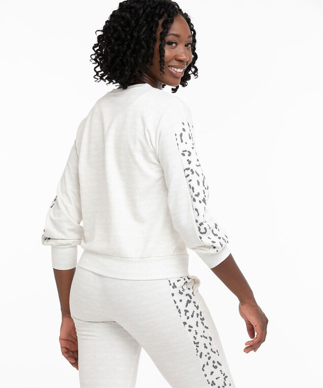 Animal Sleeve French Terry Pullover, Ivory Mix/Grey Animal