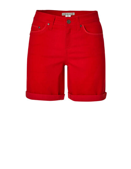 Cherry Red Denim Shorts, Red, hi-res