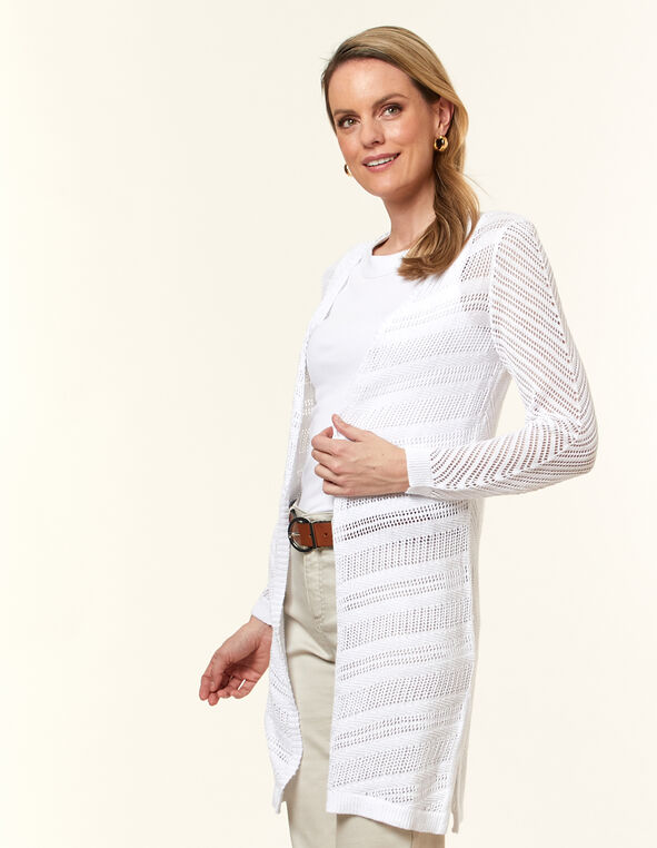 White Pointelle Long Cardigan, White, hi-res