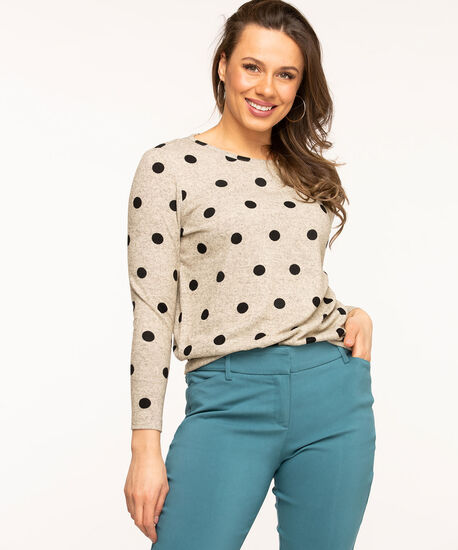 Scoop Neck Lightweight Knit Top, Oatmeal/Black Dot, hi-res