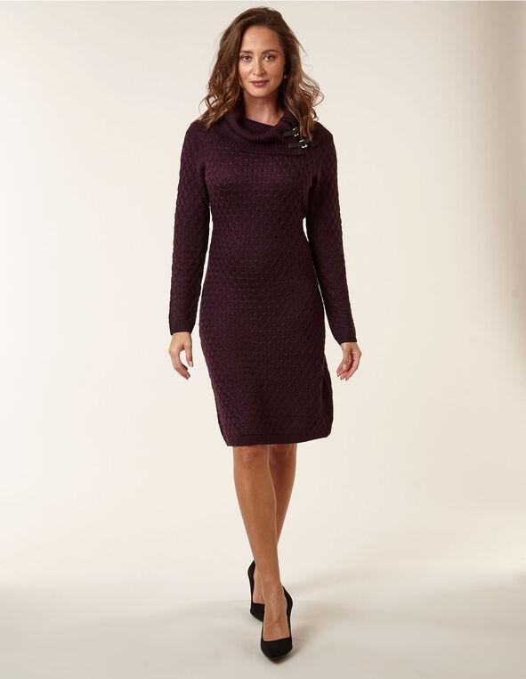 Purple Embossed Knit Sweater Dress, Purple, hi-res