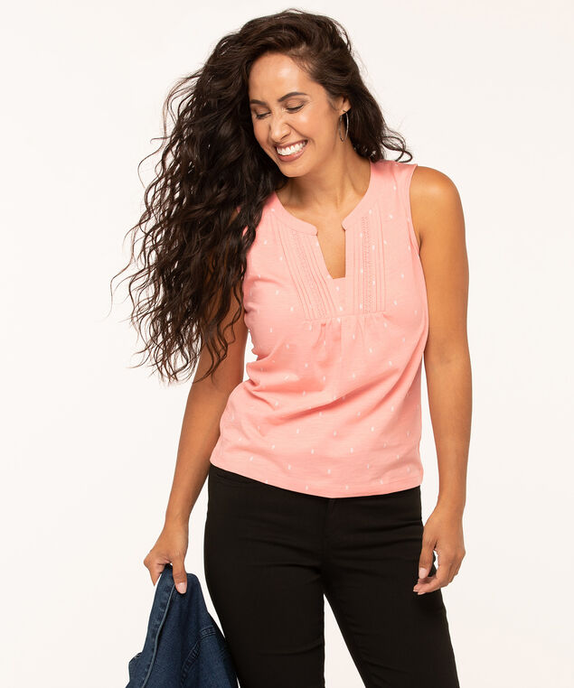 Sleeveless Peasant Style Knit Tee, Coral/White, hi-res