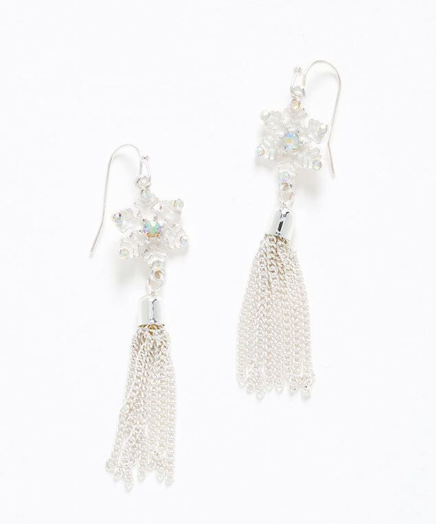 Silver Snowflake Tassel Earring, Silver, hi-res