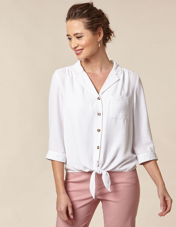 White Front Tie Blouse, White, hi-res
