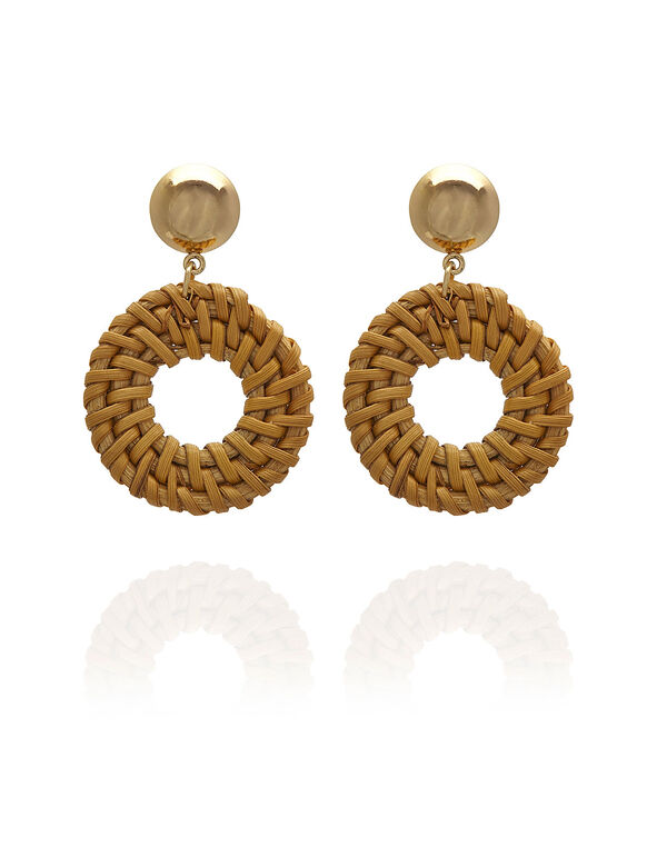 Brown Wicker Circular Earring, Brown, hi-res