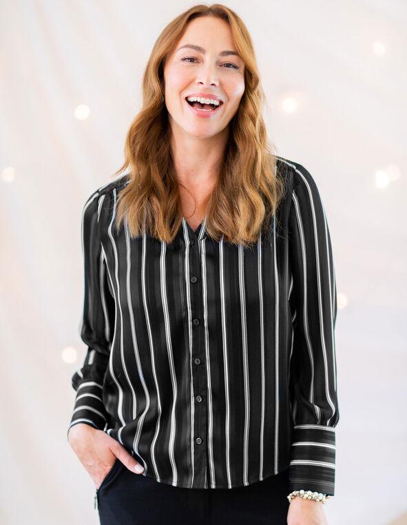Black Striped Button Front Blouse, Black, hi-res