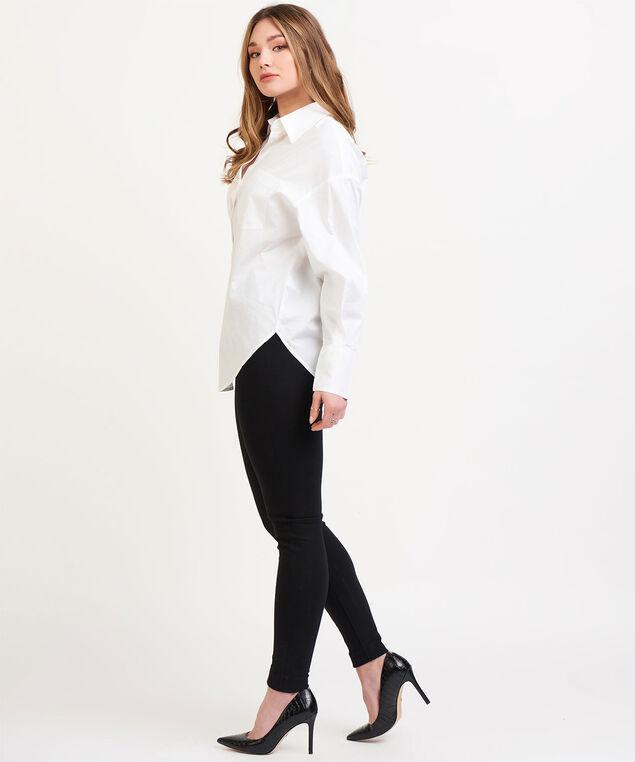 Dex Black Tape Button Front Blouse, White