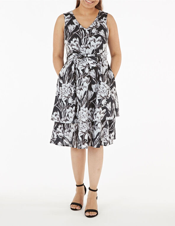 Black & White Floral Dress, Black, hi-res