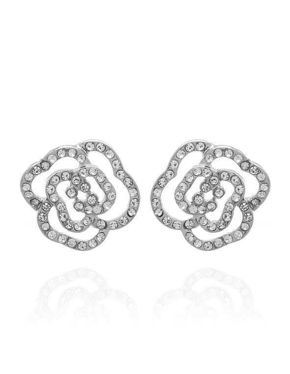 Crystal Floral Earring, Silver, hi-res