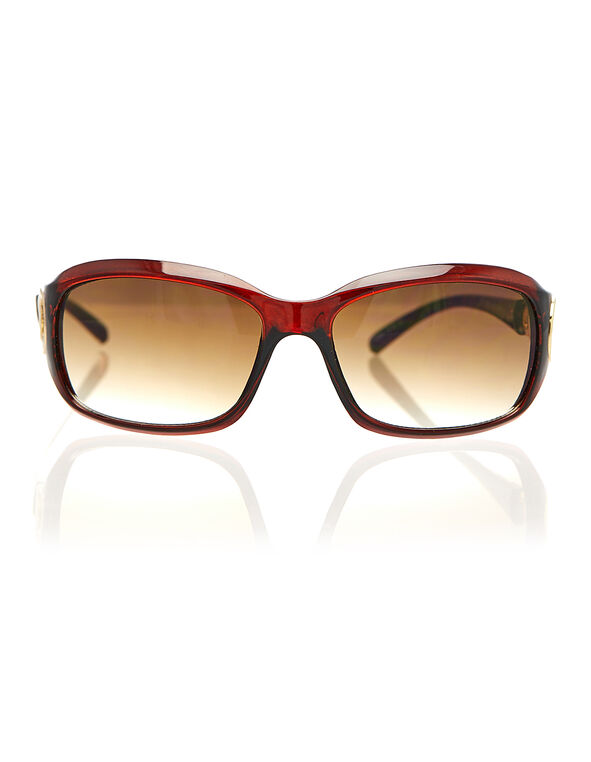 Brown Marble Print Sunglasses, Brown, hi-res