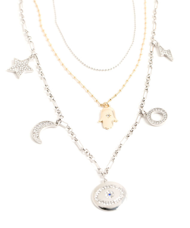 Convertible Evil Eye Charm Necklace, Rhodium/Gold