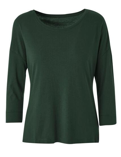 Green Cotton Blend Tee, Green, hi-res