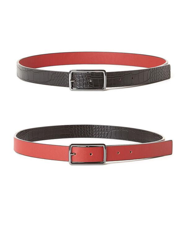 Black Croco/Red Reversible Belt, Red/Black, hi-res