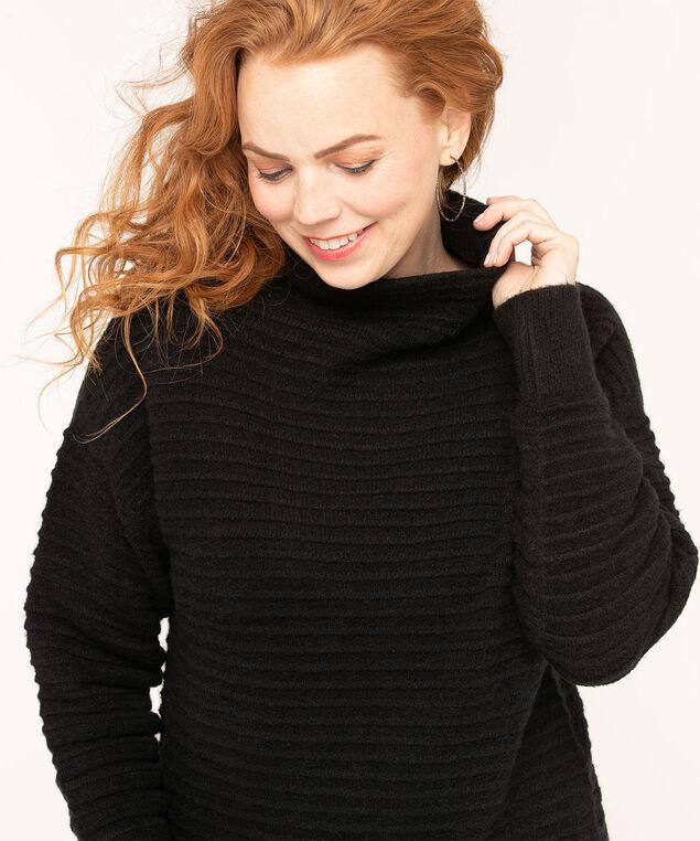 Ottoman Rib Mock Neck Sweater, Black, hi-res
